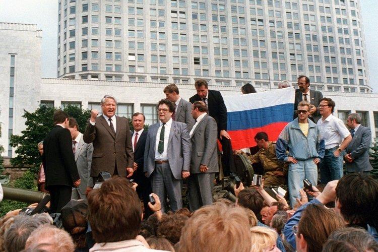 Boris Jelzin beim Augustputsch 1991
