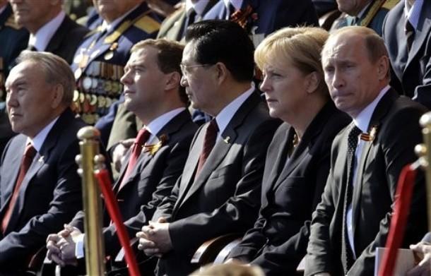 Nursultan Nazarbayev, Dmitry Medvedev, Hu Jintao, Angela Merkel, Vladimir Putin