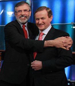 Gerry Adams hugging Enda Kelly