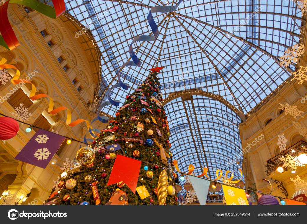 Moscow, Russia, December 4, 2018: Christmas tree and decorations at the GUM department store on Moscow Red Square